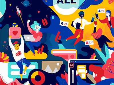 Adobe 2018 dream networking ui colorful crestivecloud illustration xd art design adobe