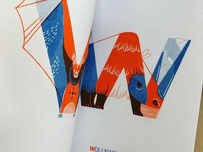 ABC Extinct Animals jayekang blue orange print art illustration extinct story riso animal