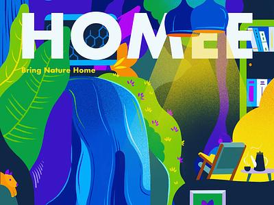 Bring Nature Home lights colorful art home nature illustration magazine design interior