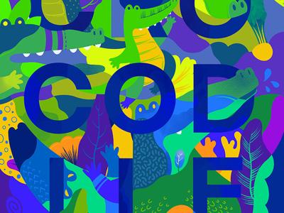 Let's croco!😆 colorful animal illustration design art jaye kang crocodile