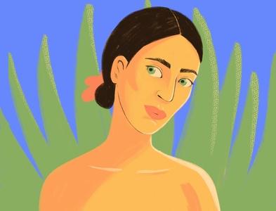 Blue lagoon girl fashion portrait tropical beauty art digital character illustration