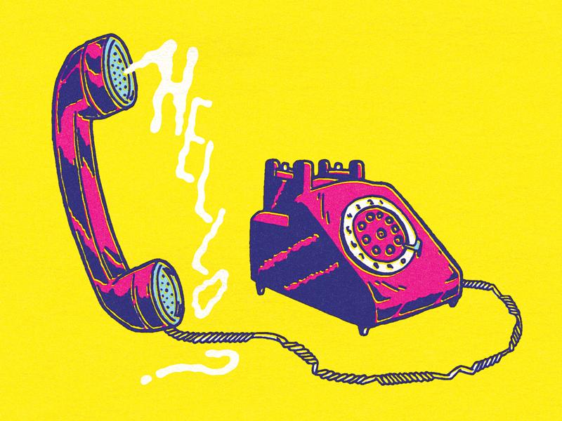 HELLO? ink color phone communication retro vintage telephone inking line art hand drawn drawing illustration