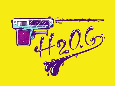 Squirt Gun Gang summer handlettering pen and ink watergun pistol nostalgia lettering hand drawn drawing illustration