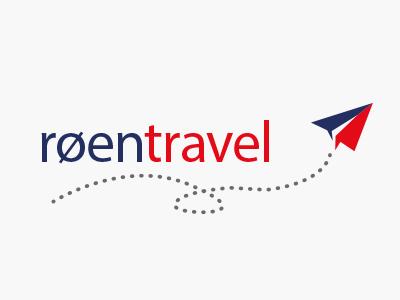 RoenTravel Logo Design 2 travel aeroplane logo illustration plane norway blue red