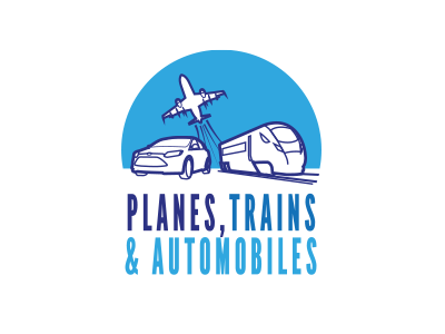 Planes, Trains & Automobiles logo design car logo illustration branding plane train automobile airplane transport blue