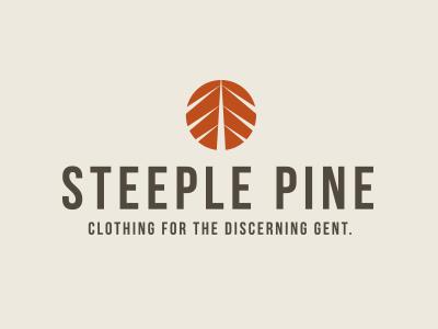 Steeple Pine logo design pine logo illustration branding tree clothing brown steeple orange
