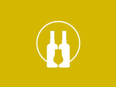 Akevittruten logo logo illustration drink glass gold bottles