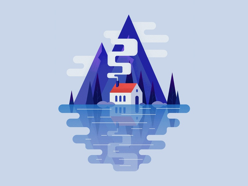 Cabin in the Woods smoke blue illustration clouds vector landscape house nature forest trees lake reflection water mountains mountain cabin