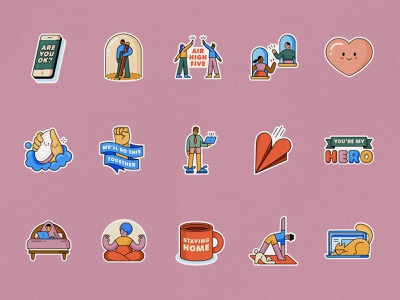 Together At Home Sticker Pack work from home heart together quarantine corona illustration emoji vector whatsapp pack stickers sticker