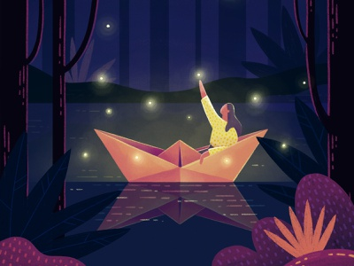 A Summer Night bushes oragami reflection nighttime night fireflies firefly woman girl boat forest trees water lake