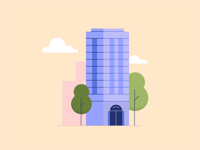Downtown 01 city illustration illustrator clouds cityscape trees skyscraper city downtown office office building vector building