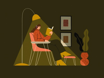 Reading Room procreate woman home plant furniture shadows lamp girl illustration living room chair book read reading