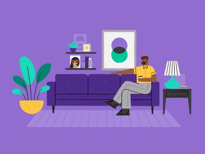 Living Room Hang person home coffee plant rug purple lamp man sofa couch living room procreate illustration