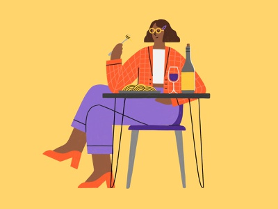 Dinner for One yellow eating wine table restaurant dining meatballs spaghetti woman girl dinner procreate illustration