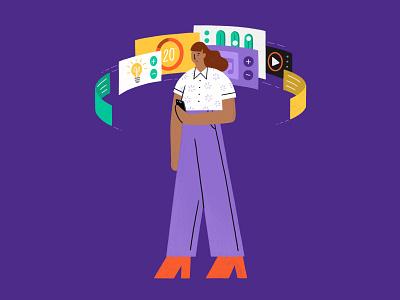 Smart Controls iphone digital interface ui lighting purple woman girl tech wifi phone smart controls smart home illustration