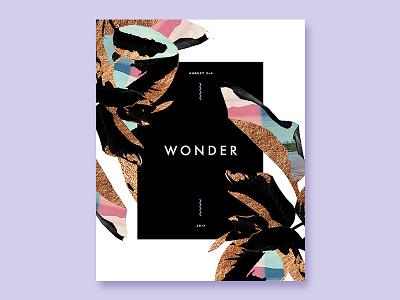 Wonder Conference leaf leaves foil rose gold gold white black pastel purple typography print