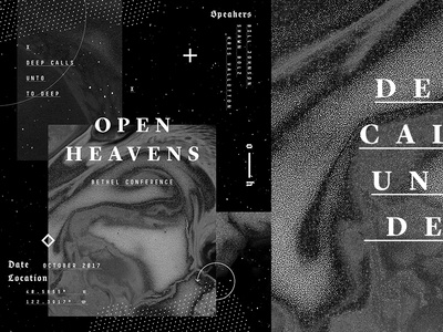 Open Heavens 2017 outerspace dots warp typography grain minimal texture space abstract white black black and white