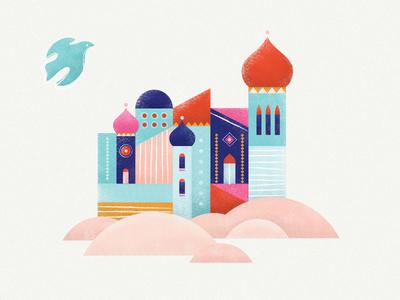 Desert City blue dove pink desert bethlehem vector buildings illustration city