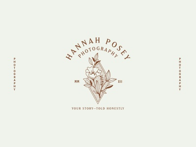 Hannah Posey Logo mark branding brand typography lines etching etched flower photography logo