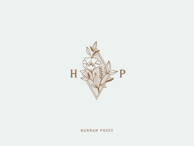 Hannah Posey Icon mark branding brand typography lines etching etched flower photography logo