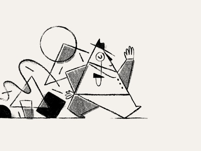 Mr. Triangle pencil black and white geometric shapes illustration sketch triangle