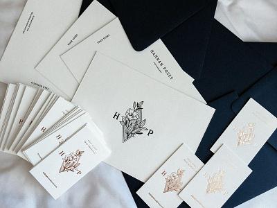 Hannah Posey Business Cards envelope card cards black and white flower branding logo print letterpress rose gold business cards foil