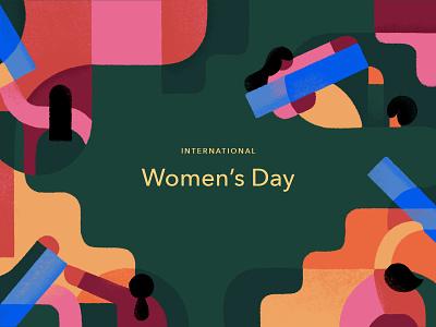 International Women's Day womens day abstract blue pink green geometric shapes blocks girl woman illustration women