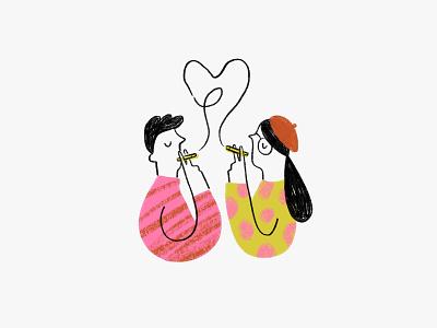 French Cafe glasses sketch boy girl illustration heart cigarette smoking beret paris france