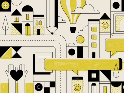 Little city street pencil yellow black  white geometric hot air ballon balloon windows vector illustration buildings city