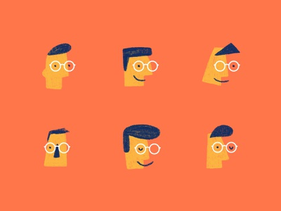 Exploration of Faces hair minimal portrait head sketch pencil illustration abstract faces face glasses