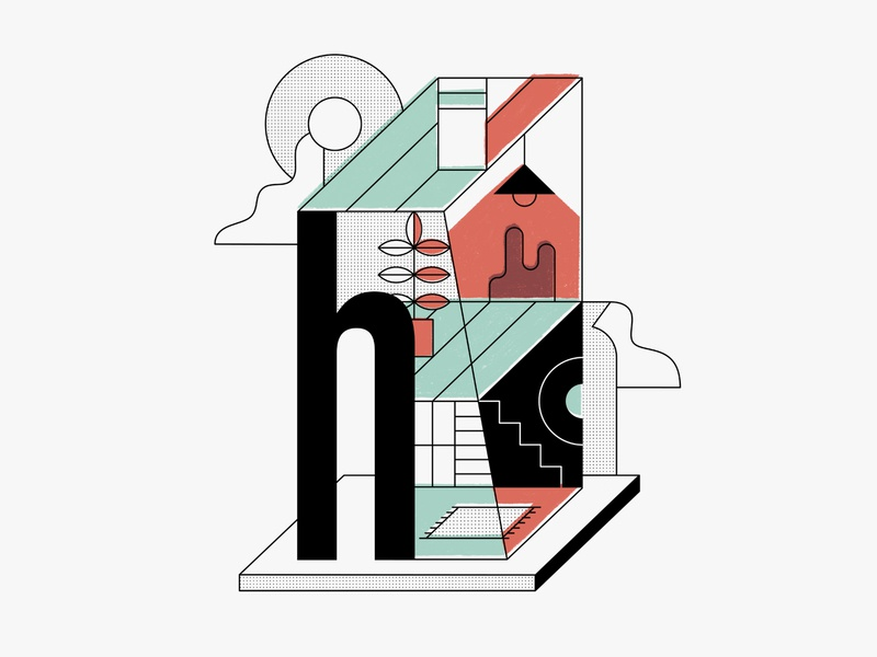 Hunker House branding design h stairs lamp plant vector building home geometric abstract house illustration brand