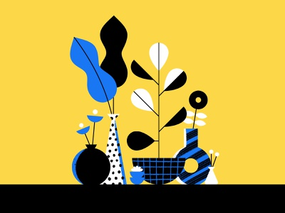 Flower Arrangements geometric blue illustration yellow rubber tree leaves succulent flower vase pot houseplant plant flowers plants