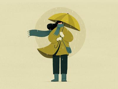 Rainy Day umbrella scarf coat green rain boots fall winter girl rainy rain illustration procreate art procreate app procreate