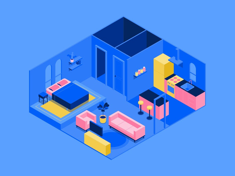 Isometric House home livingroom furniture plants couch kitchen bed vector isometric illustration house