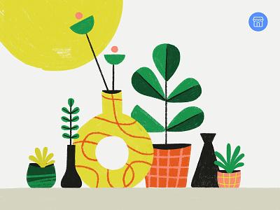 Facebook Marketplace Summer Workshop pots vase succulent flowers leaves plant houseplant procreate sketch illustration plants