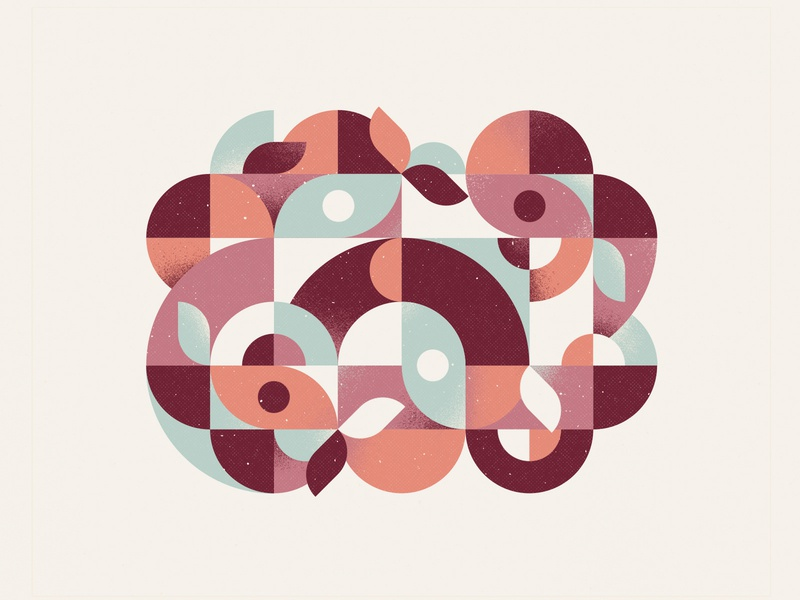 Geometry blue pink maroon purple illustrator vector leaves circles geometry geometric abstract illustration