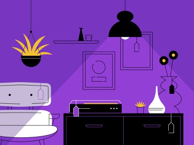 Living Room furniture record player dresser lamp home plant vase chair mid century living room black purple vector illustration
