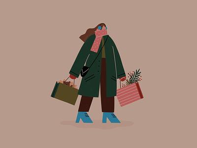 Christmas Shopper holiday bags high heels woman winter coat holidays shopper shopping procreate girl illustration animation christmas