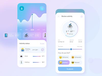 Activity tracker UI - B' Productive mobile app mobile ui tracking tracker health activity productivity productive uxdesign