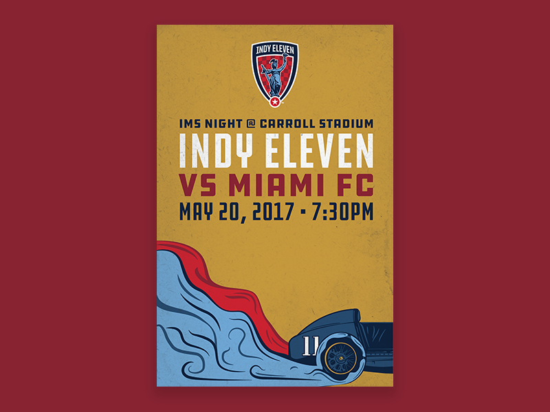 Indy Eleven IMS Night Poster - Full race car indy eleven nasl smoke indianapolis