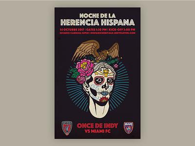 Indy Eleven Hispanic Heritage Night Poster - Full lady victory sugar skull indy eleven hispanic indy