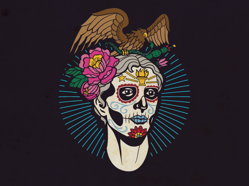 Indy Eleven Hispanic Heritage Night Poster - Detail lady victory sugar skull indy eleven