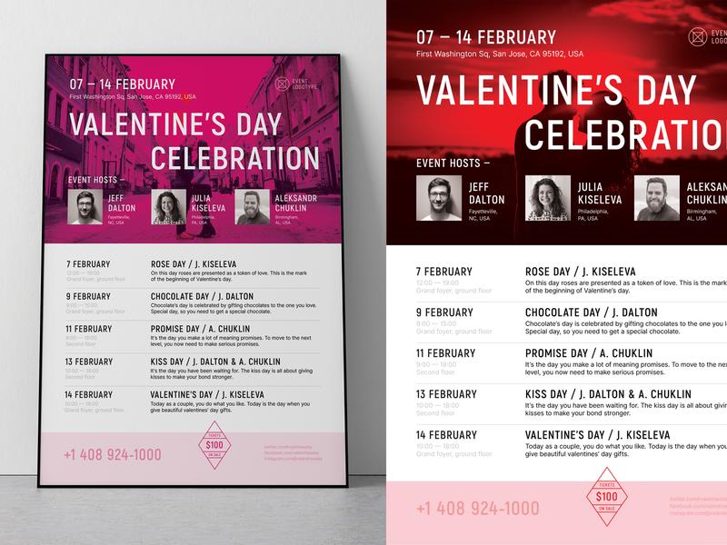 Valentine's Day Poster Template performance timeline calendar valentine party schedule event template poster valentine day valentines