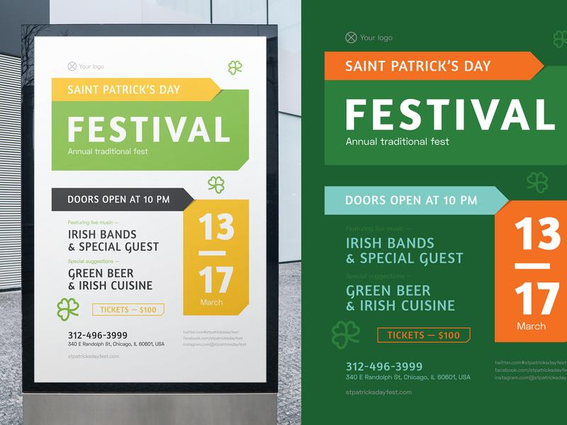 St. Patrick's Day Poster music club festival irish ireland holiday template invitation flyer event poster st. patricks day saint patricks day patrick