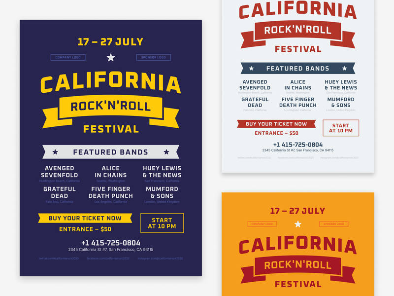 Music Festival Poster Template rock and roll rock typography flyer invitation event party club template poster festival music