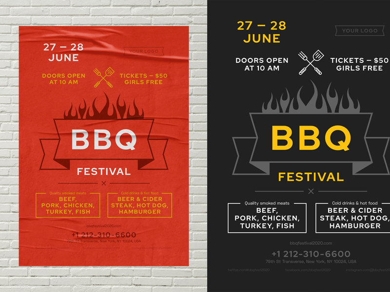 BBQ Festival Poster Template grill flame meat 4th of july party cooking food promo invitation event template flyer poster bbq