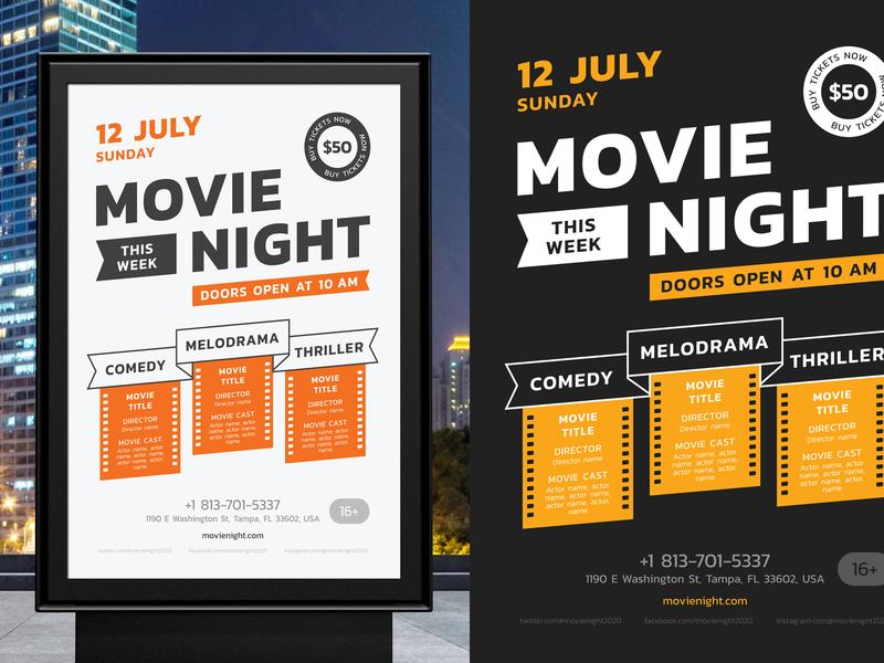 Movie Night Poster Template vector template invitation schedule event film cinema flyer poster night movie