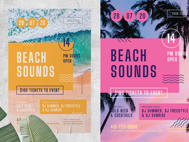 Beach Sounds Poster Template figures shapes invitation template event flyer beach party open air typogaphy event poster holiday sun vacation summer sounds beach