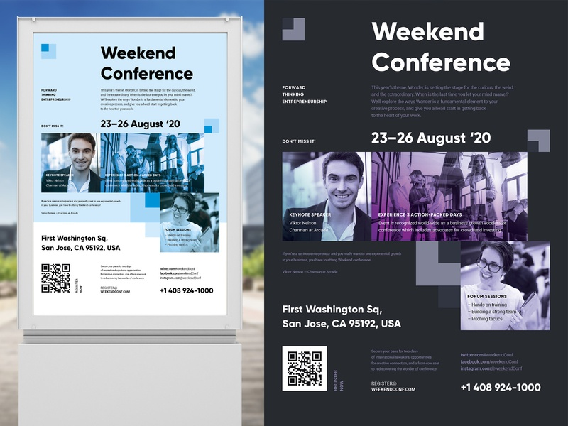 Weekend Conference Poster Template typography vector flyer promotion seminar convention meetup photo speakers schedule event template poster conference