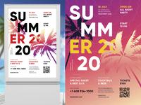 Summer Poster Template heat club dj flyer open-air festival party music beach vector template event poster summer